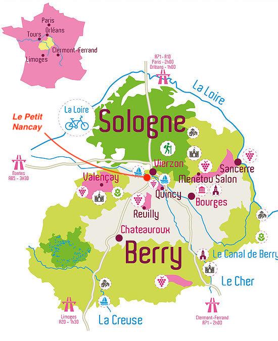 carte de la sologne Carte Berry   Chambres d'hôtes   Le Petit Nancay